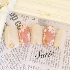 #Spring #Summer Sheer Pink with White Floral Accent nails nailart