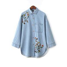 Women's Clothing Women Shirt Soft Embroidery Denim Shirt Japan Style Long Sleeves Blue Flowers Casual Loose Tops Streetwear