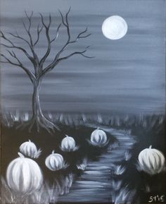 Canvas and Paint and Wine, Oh My! Halloween Canvas Paintings, Fall Canvas Painting, Halloween Painting, Autumn Painting, Autumn Art, Halloween Art, Diy Painting, Painting & Drawing, Canvas Art