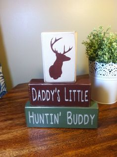Primitive wood sign blocks daddy's little hunting buddy Father's Day gift dads birthday nursery baby shower deer head antlers camo