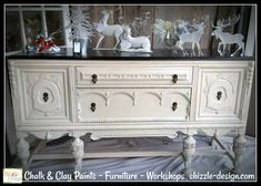 Want to create a beautiful finish like this on an old piece of furniture?  It's easy and I show you how.  https://www.shizzle-design.com/2017/11/beautiful-antique-buffet-refinished-in-frenchic-furniture-paint/