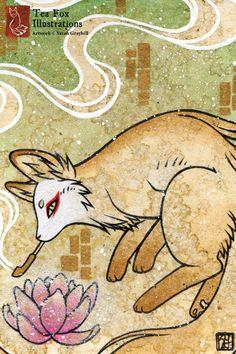 Smoke 2 / Kitsune Fox Yokai Magic / por TeaFoxIllustrations en Etsy