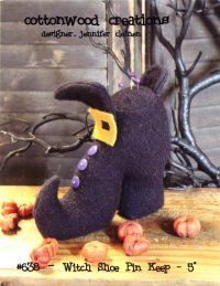 "Witch Shoe Pin Keep- 5""(Pattern) from Cottonwood Creations Finished wool design approximately 5"" high. A37903  $6.00"