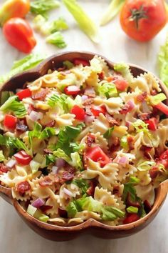 15 Of Our Favorite Summer Salads - 24 Cottonwood Lane- 20 Minute BLT Pasta Salad Blt Pasta Salads, Easy Pasta Salad, Pasta Salad Recipes, Blt Salad, Pasta Salat, Masterchef, Cooking Recipes, Healthy Recipes, Chopped Salads