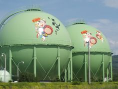 Painted water tower in Japan.