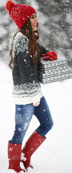This sweater is so cute with this red knit hat and matching red rain boots for winter
