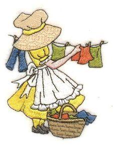 Sunbonnets Days of the Week Rag Quilt Patterns, Pattern Blocks, Sewing Patterns, Crochet Patterns, Sue Sunbonnet, Maria Teresa, Machine Embroidery Applique, Girls Quilts, Book Quilt