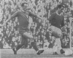 1st October 1966. Leicester City winger Mike Stringfellow closing down Arsenal centre forward George Graham.