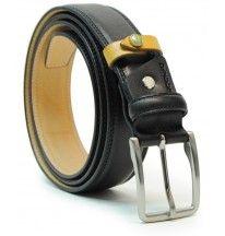Cintura uomo classica e moda in pelle vegetale morbida Nero di alta qualità. Designer Italiano Alessandro Acciaio