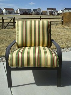 Recovered my patio furniture using the old fabric as a pattern... I tore the cushion covers apart by the seams ... Online these cushions were about $75 a piece at wholesale prices!!!  I got outdoor treated fabric off the clearnace table at JoAnne's Fabrics and will cost me $15 a piece!!!