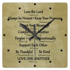 Shop Bible Verse Family Rules Square Wall Clock created by Christian_Quote. Love Life Quotes, Inspirational Quotes About Love, Christian Gifts, Christian Quotes, Pray Continually, Family Photo Collages, 10 Commandments, Family Rules, Love The Lord