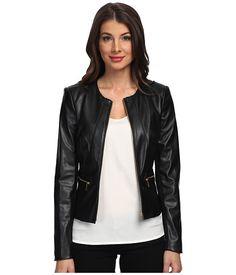 Calvin Klein Solid PU Jacket w/ Zipper Closure & Zipper Detail