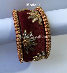 Items similar to Silk thread Kundan stone Kada Bangles on Etsy Silk Thread Bangles Design, Silk Thread Necklace, Silk Bangles, Bridal Bangles, Thread Jewellery, Fabric Jewelry, Gold Jewelry, Embroidery Neck Designs, Handmade Jewelry
