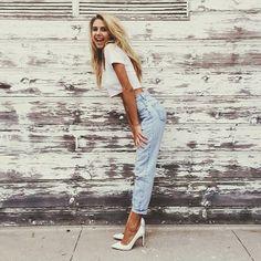 white crop top + boyfriend jeans
