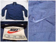 4f8a1e0327808f Vintage Men s Nike 90 s Jacket Blue Solid Color Full Zip Windbreaker  Embroidered Swoosh Logo Streetwear XL