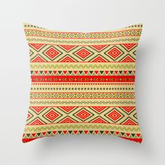 #tribal #Ethno #Ethnic #Aztec #Navajo #Pattern #pillows  Available in different #homedecor #society6 products too.