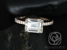 Becca 9x7mm 14kt Rose Gold Emerald FB Moissanite and Diamonds Engagement Ring (Other metals and stone options available)