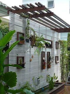 terrace garden Terraces present wo - garten Jardim Vertical Diy, Vertical Garden Diy, Vertical Gardens, Diy Patio, Backyard Patio, Backyard Landscaping, Landscaping Ideas, Patio Ideas, Pergola Ideas