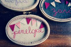 Personalized Oval Embroidery Hoop Art, Yarn-wrapped. Mini Bunting Girl Nursery Decor with Name by Catshy Crafts