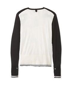Black Fleece Men's Tipped V-Neck Sweater (Black/white/grey)