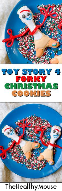 Disney & Pixar inspired Toy Story 4 Forky Christmas cookies with free printable Forky cookie cutter
