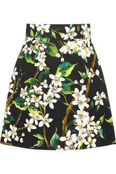 Dolce & Gabbana Floral-print woven cotton mini skirt | NET-A-PORTER