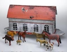 Noah's Ark toy animal set with ark. The wooden set includes 65 crudely carved and hand-painted animals, ca. 1885-1895.   collections.mohistory.org