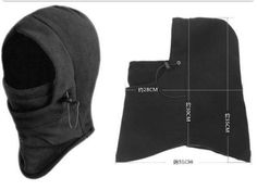 BLACK Hood Balaclava Neck Winter warmer