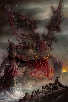 """""""Cthulhu Rising"""" from Cthulhu: The Great Old One Card Game by Dann Kriss Games, artwork by Ian Daniels © 2013 - on Kickstarter now!"""