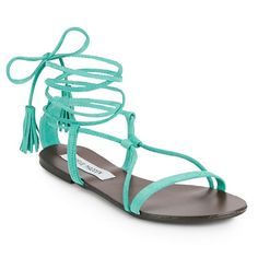 Steve Madden fringe tassel lace up sandals Brand new, comes with box.  Suede upper/leather lining.  Fringe tassel ties. Manmade sole. Gorgeous bright teal color. Steve Madden Shoes Sandals