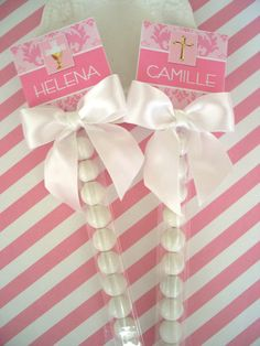 Items similar to Listing for Lisa Sugar of 30 Holy Communion Favors for Girls bubble sticks customer assembles all parts included on Etsy Communion Decorations, Communion Favors, Pink Damask, First Holy Communion, Christening, Holi, Diy Gifts, Party Favors, Gift Wrapping