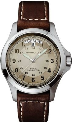 @hamiltonwfan Khaki King Auto #bezel-fixed #bracelet-strap-leather #brand-hamilton #case-depth-11-15mm #case-material-steel #case-width-40mm #date-yes #day-yes #delivery-timescale-call-us #dial-colour-gold #gender-mens #luxury #movement-automatic #official-stockist-for-hamilton-watches #packaging-hamilton-watch-packaging #style-dress #subcat-khaki-field #supplier-model-no-h64455523 #warranty-hamilton-official-2-year-guarantee #water-resistant-50m