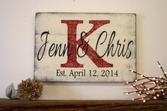 Wedding Gifts Diy Personalized Name Sign Custom Name Sign Wedding Gift Bridal Shower Gift Wood Pallet Sign Distressed Wood Sign Monogram Established Date Sign. Distressed Wood Signs, Wood Pallet Signs, Wood Pallets, Wooden Signs, Bridal Shower Gifts, Bridal Gifts, Bridal Showers, Pallet Crafts, Wood Crafts