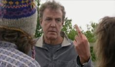 Animated gif from Top Gear of Jeremy Clarkson flipping off James May and Richard Hammond