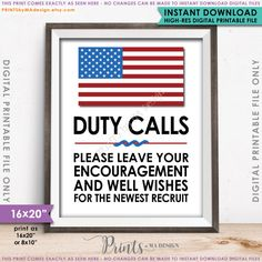 "Military Party Decor, Leave your Encouragement and Well Wishes, US Military Boot Camp, 8x10/16x20"" Instant Download Digital Printable File"