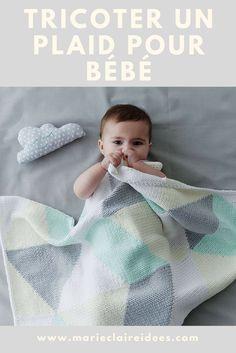 Tricot pour bébé : un patron pour tricoter une couverture de bébé Plaid Crochet, Diy Crochet, Baby Knitting Patterns, Knitting Stitches, Tricot Baby, Manta Crochet, Knitted Baby Blankets, Kids Fashion, Kids Rugs