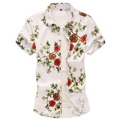 3f21f718 Floral Blouse Men Summer Hawaiian Shirt for Men clothing Evening Dress  Casual Social Shirt Male Flower