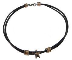 Kuhhaut Halskette Schnur, Stern, antike Kupferfarbe plattiert, 2 strängig, schwarz, frei von Nickel, Blei & Kadmium, 10x11mm, 21x21mm