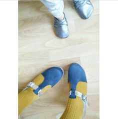 Tbar clogs in blue nubuck and silver clogs