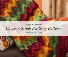 Full of wonderful movement and texture, the chevron stitch offers all of your pieces a rustic look and feel. Loom Knitting, Knitting Stitches, Knitting Patterns Free, Free Knitting, Baby Knitting, Stitch Patterns, Fun Patterns, Knit Patterns, Easy Knit Blanket