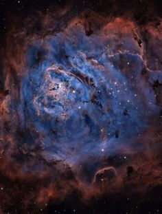 "The majestic #LagoonNebula is filled with hot gas and contains many young stars. The Lagoon Nebula is about 100 light years across and is only 5,000 light years away. It is so big and bright that can be seen without a telescope in the constellation of the Archer (Sagittarius). Since NGC 6530, an open cluster in the nebula was formed a few million years ago, many bright stars look. The largest nebula, also known as M8 and NGC 6523, is called ""Lagoon"" for the band of dust..."