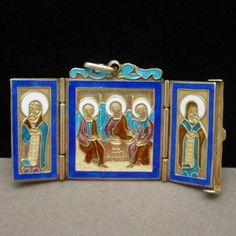 Russian Orthodox Silver Enamel Icon Pendant Folds Triptych Vintage Moscow | eBay