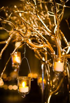 Gold branches and hanging candles for wedding reception decor (Rachel Pearlman Photography)