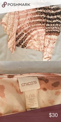 """Chicos Tan Brown Animal Print Silk Blend Blouse Beautiful loose fitting top with falling edges and sleeves. In excellent like New condition. 22% Silk. Measurements: Bust: 58"""" around Length: 26"""" SIZE L/XL Chico's Tops Blouses"""