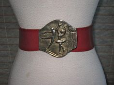 RARE Ladies Red Leather Belt With BALLERINA Buckle by Flipsville, $50.00