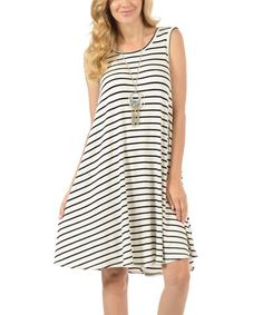 Look at this #zulilyfind! White & Black Thin-Stripe Hi-Low Tank Dress #zulilyfinds