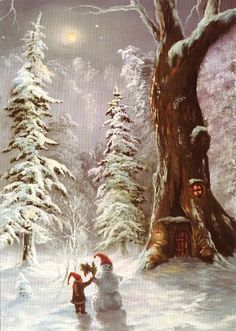 Deep in the woods under the glow of the misty moon when no one was looking he made a snowman for himself to enjoy~