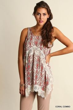 408a0944748134 UMGEE Boho High Low Tunic Top Sleeveless Lace Red Paisley  www.stores.ebay.com styleontherun4u