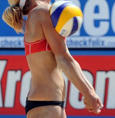 Ouch! Marleen van Iersel takes a hit to the body - photo from FIVB