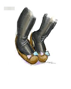 It is a sketch of shoes with a ribbon.  I drew while commuting on a train with the GALAXY Note.
